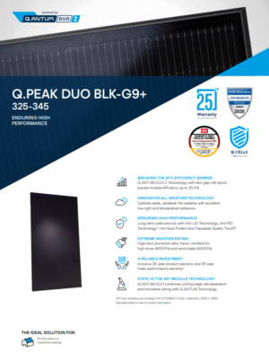 Datasheet 1 Q cells Q.PEAK-DUO-BLK-G9-PLUS-340 zonnepaneel