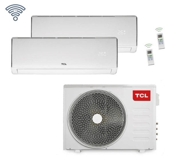 TCL 2,5+3,5 kW Duo Split Wand Airco - 9000+12000 Airconditioning